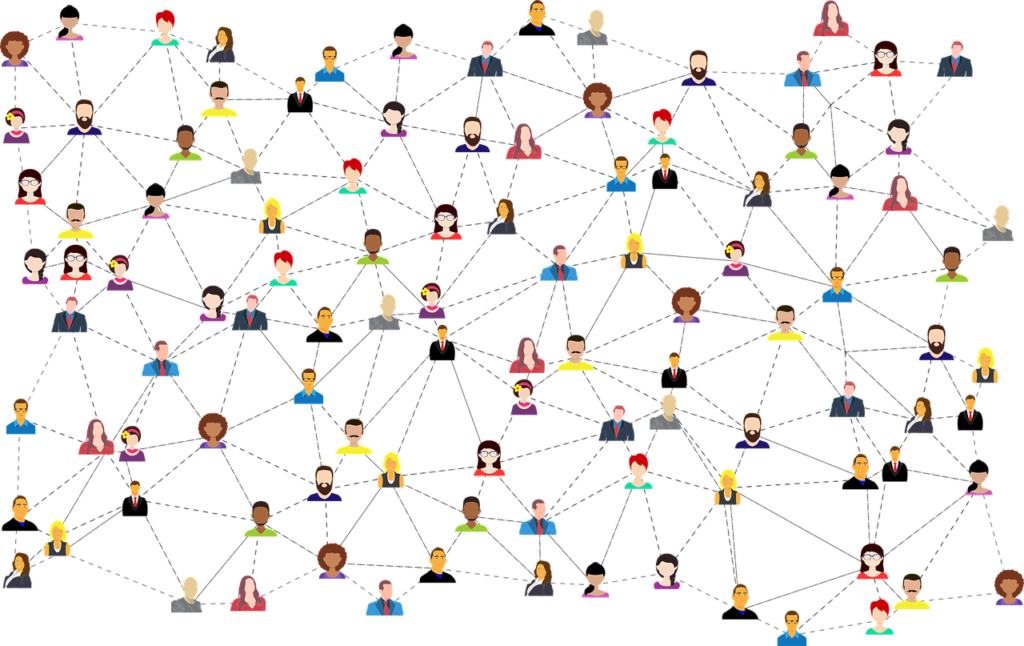 many people connected by lines in a network