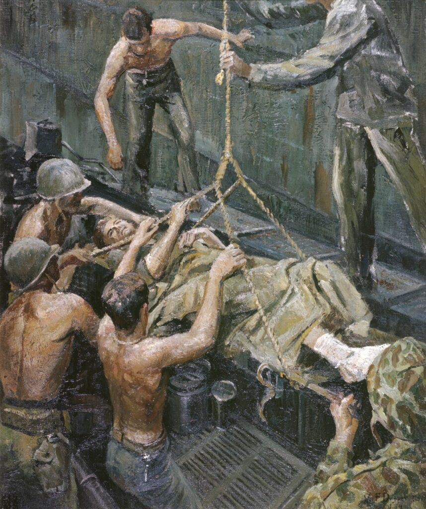 Oil painting of soldier in a stretcher being lifted onto a transport.