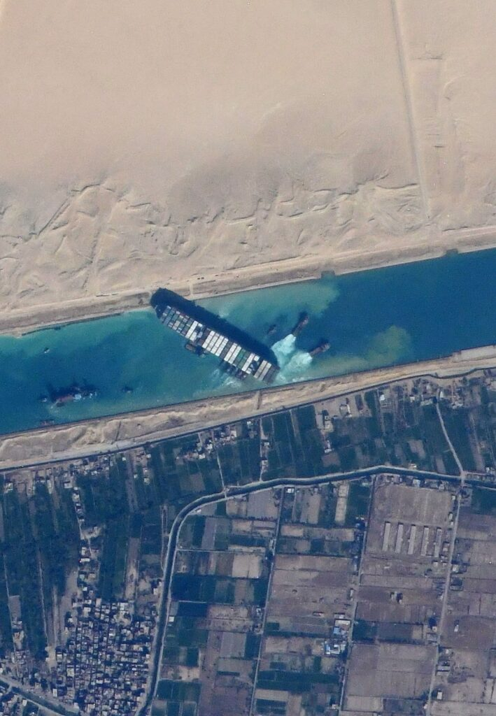 Ever Given, a container ship, blocking the Suez Canal, taken from the International Space Station