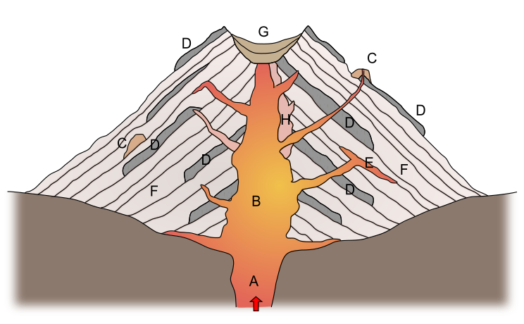 Schematic cross-section through a stratovolcano (synonym: composite volcano), showing the physical build-up. A: inflow of magma through central vent; B: central vent; C: pyroclastic cone on the flank of the volcano; D: lava flow; E: sill; F: pyroclastic deposits; G: crater and crater infill; H: old vent.