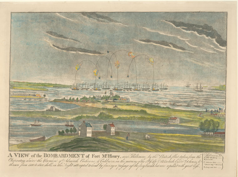 Pen and ink colored etching of Ft McHenry, with bombs launching from ships in the harbor onto the Fort.